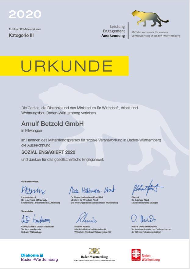 Auszeichnung Mittelstandspreis für soziale Verantwortung