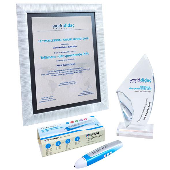 2018 Auszeichnung mit dem Worlddidac Award für den Digitalstift  Tellimero