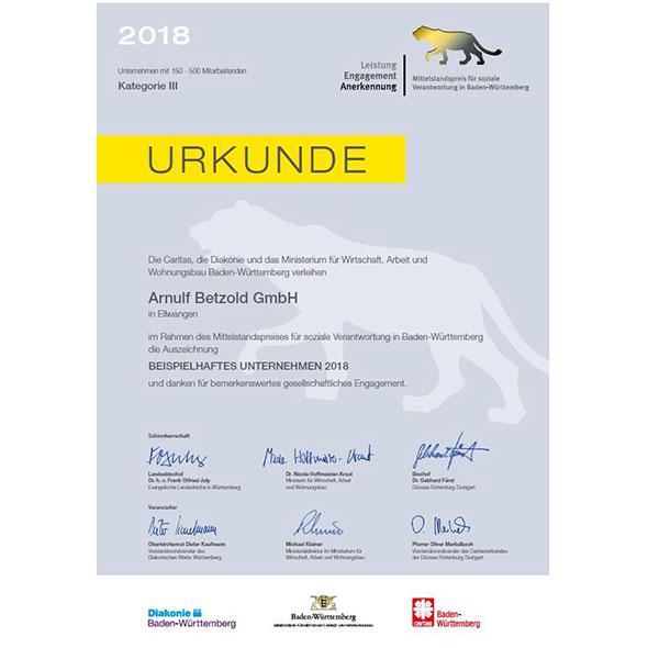 2018 Nominierung zum Mittelstandpreis