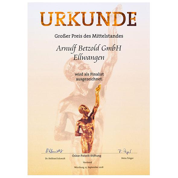 2018 Auszeichnung-Finalist grosser Preis des Mittelstandes Oskar Patzelt Stiftung 2018