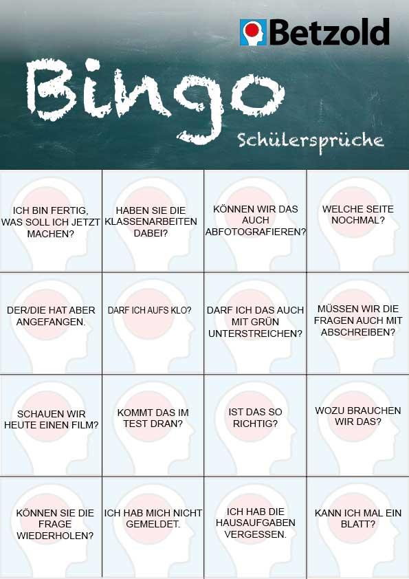 Schülersätze-Bingo zum Ausdrucken