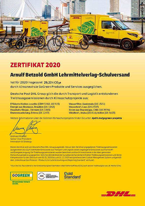Zertifikat DHL GoGreen klimaneutral